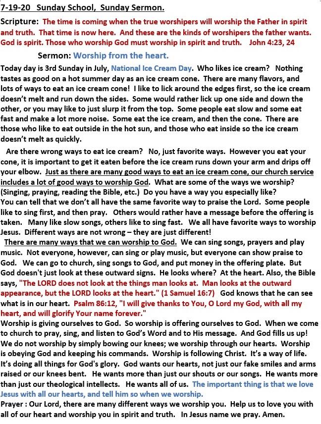 7-19-2020 Sunday School Sermon