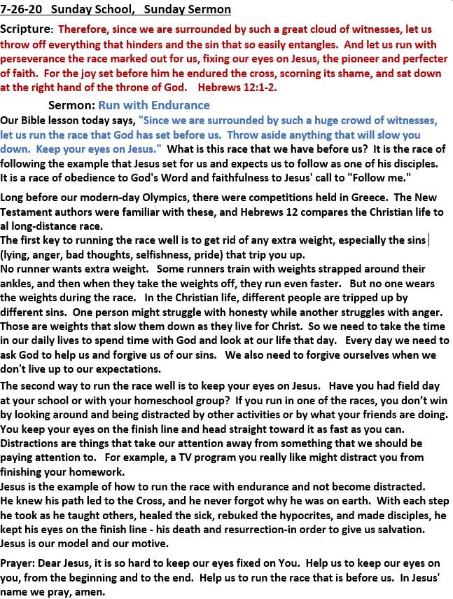 7-26-2020 Sunday School Sermon