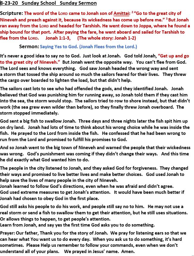 8-23-2020 Sunday School Sermon