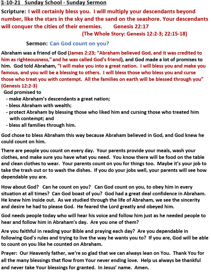 1-10-2021 SUNDAY SCHOOL SERMON