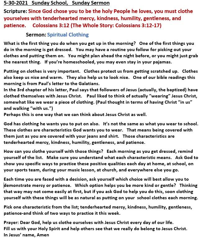 5-30-2021 Sunday School Sermon