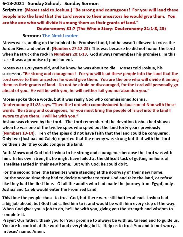 6-13-2021  Sunday School Sermon