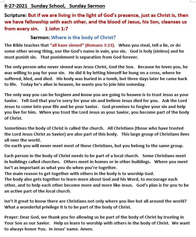 6-27-2021 Sunday School Sermon