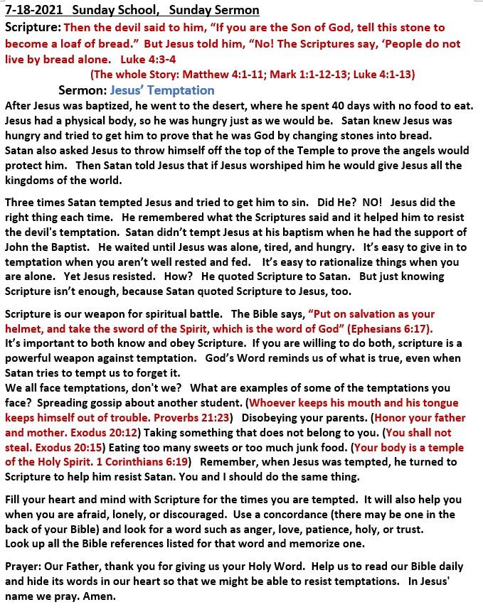 7-18-2021 Sunday School Sermon