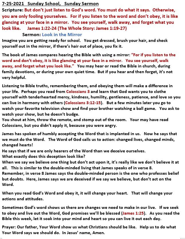 7-25-2021  Sunday School Sermon