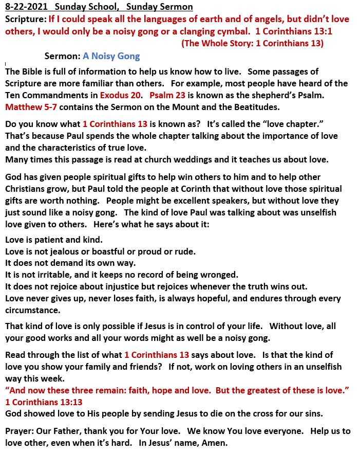 8-22-21  Sunday School Sermon