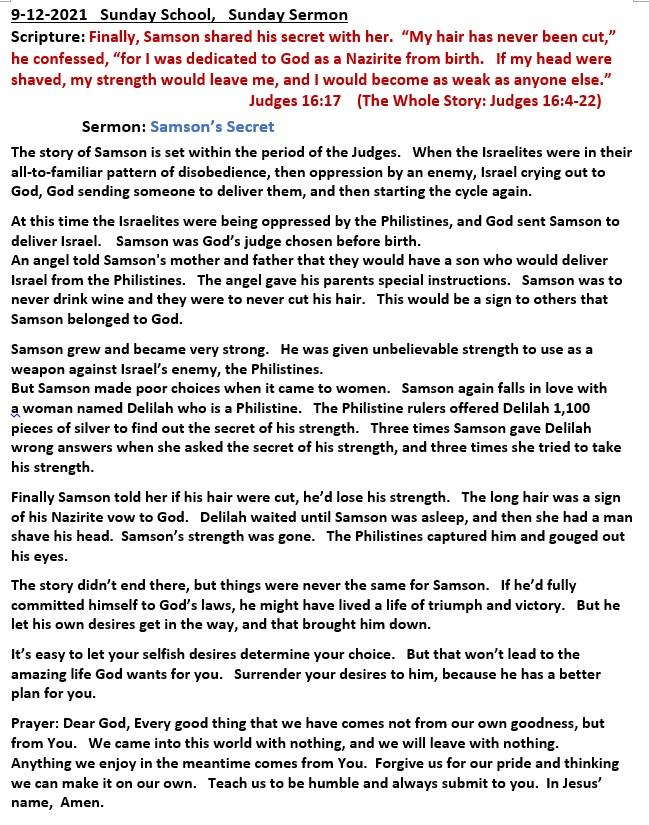 9-12-2021  Sunday School Sermon