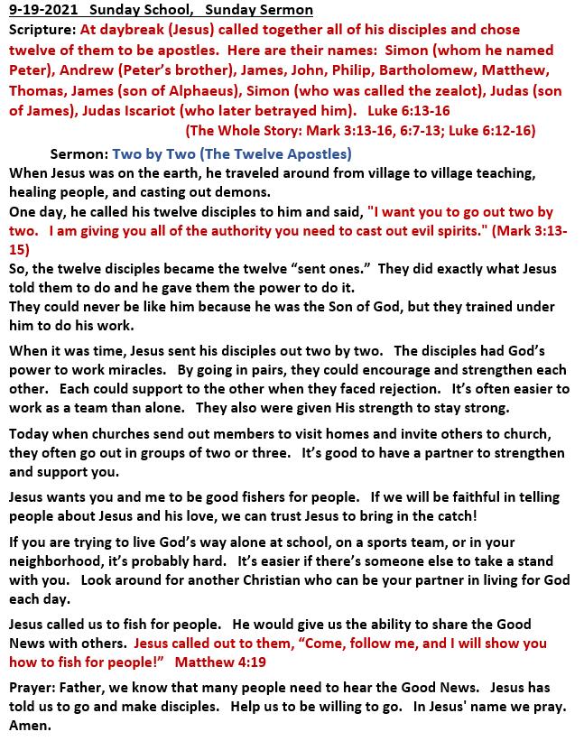 9-19-2021  Sunday School Sermon