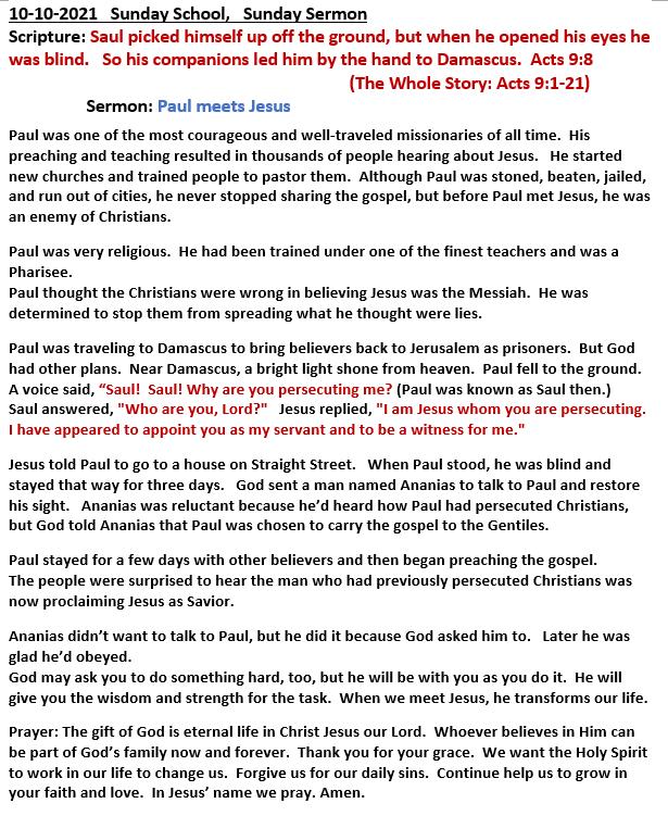 10-10-2021  Sunday School Sermon